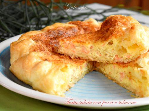 Torta salata con porri e salmone, ricetta squisita antipasti