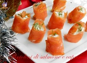 Rotolini di salmone e caprino-ricetta antipasti-golosofia