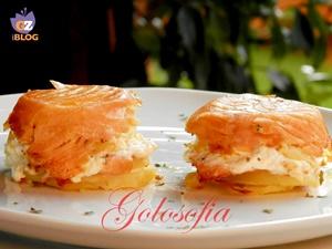 Tortino di patate e salmone-ricetta antipasti-golosofia