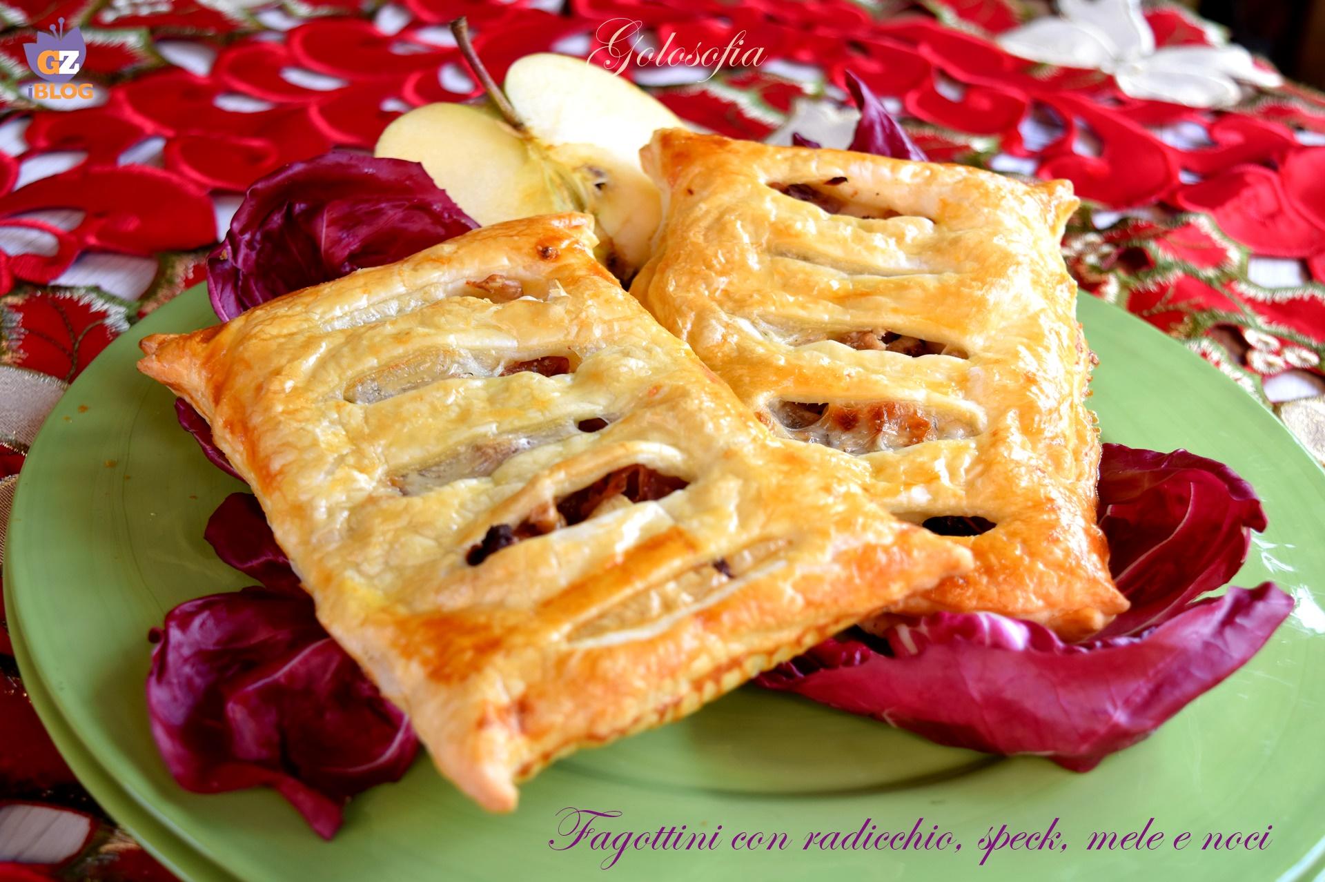 Fagottini con radicchio, speck, mele e noci, ricetta sfiziosa antipasti