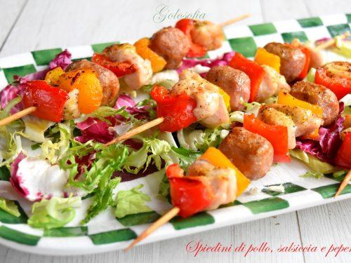 Spiedini di pollo, salsiccia e peperoni, ricetta squisita