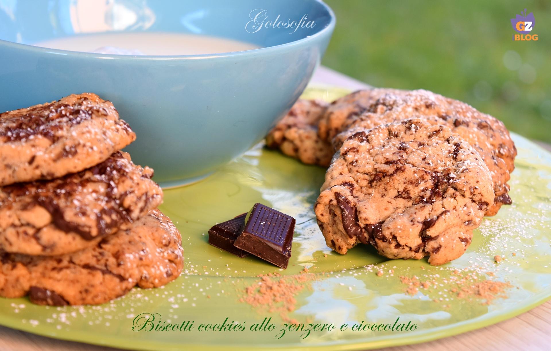Biscotti cookies allo zenzero e cioccolato-ricetta dolci-golosofia