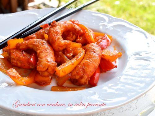 Gamberi con verdure, in salsa piccante, ricetta buonissima