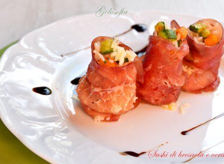 Sushi di bresaola e verdure, ricetta semplice, leggera e gustosa