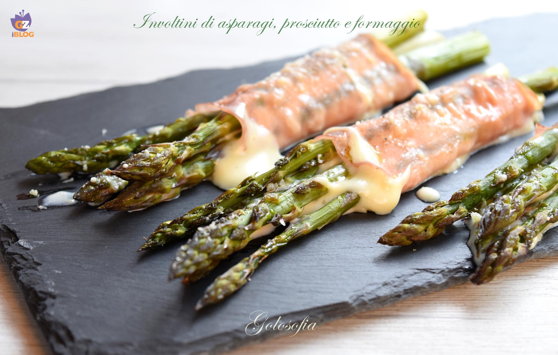 Involtini di asparagi, prosciutto e formaggio-ricetta antipasti-golosofia