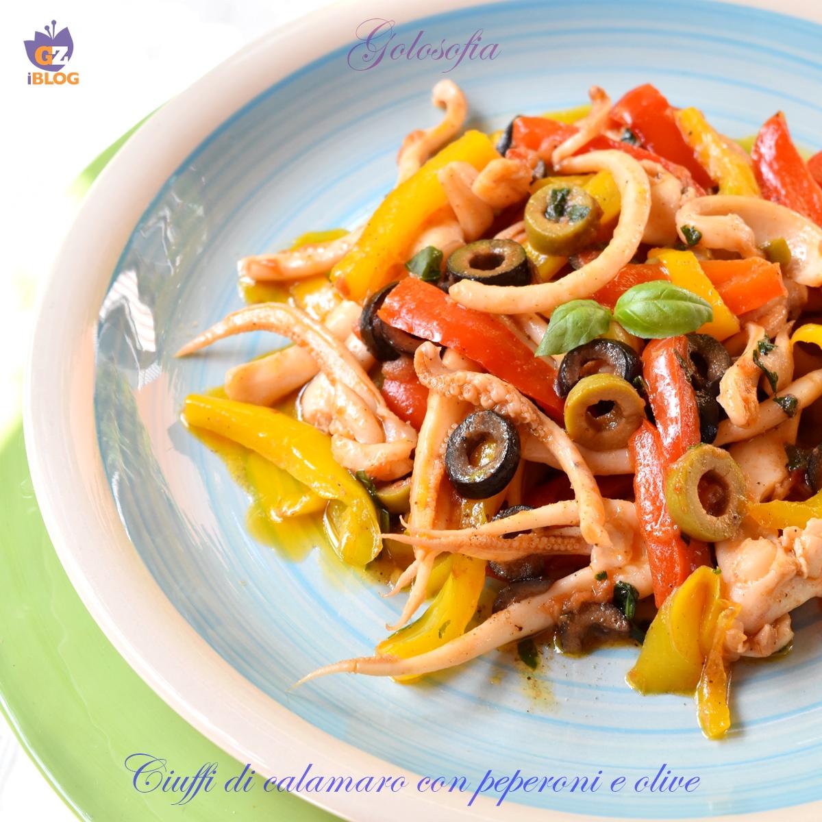 Ciuffi di calamaro con peperoni e olive-ricetta secondi-golosofia