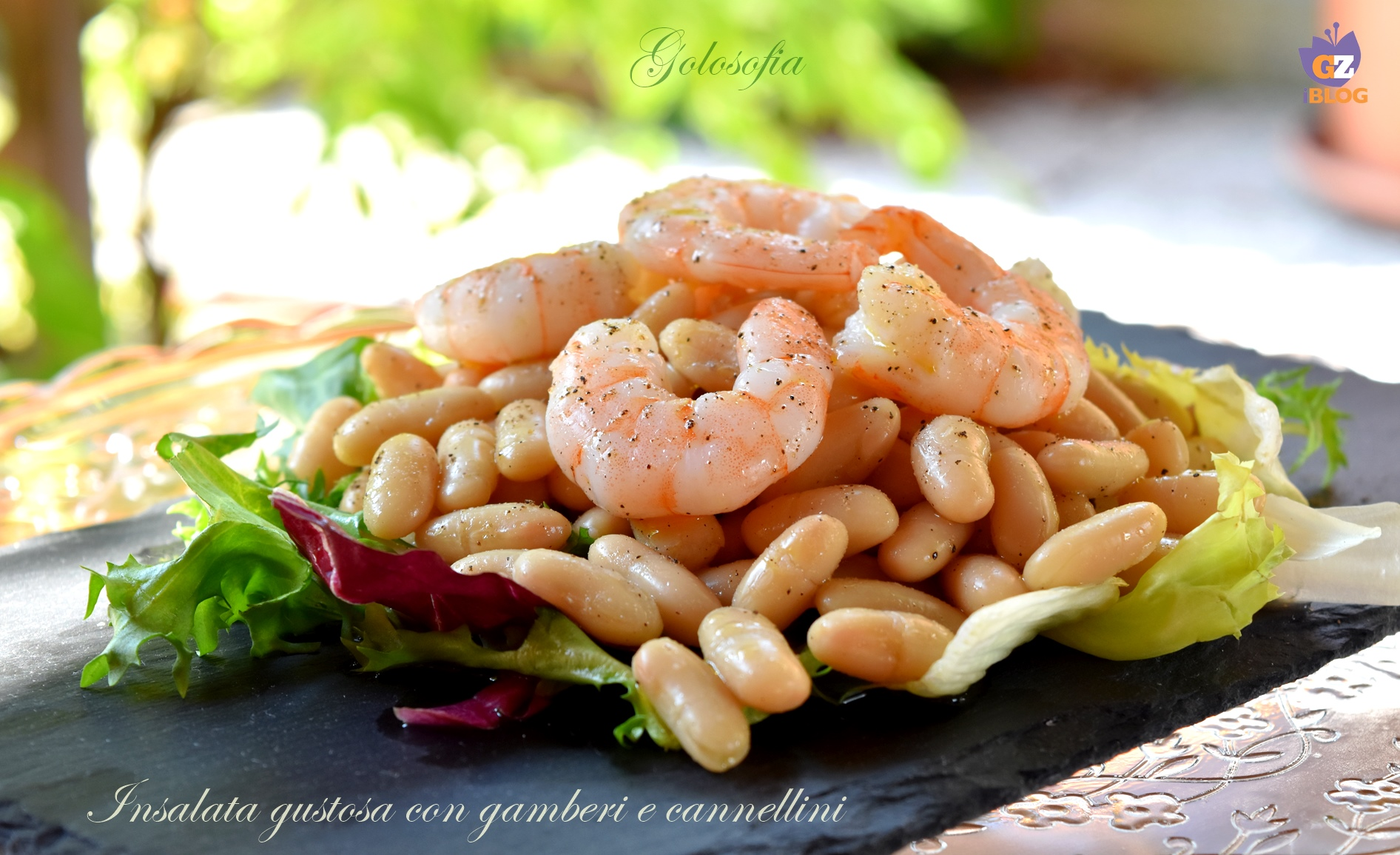 Insalata gustosa con gamberi e cannellini-ricetta insalate sfiziose-golosofia