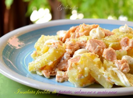Insalata fredda di patate, salmone e maionese, ricetta gustosissima