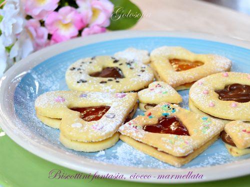 Biscottini fantasia, ciocco-marmellata, ricetta semplice buonissima