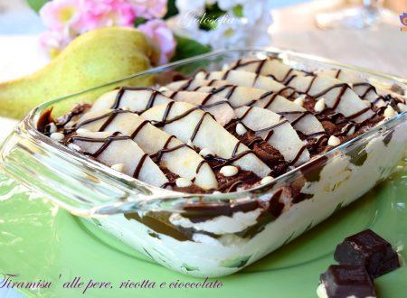 Tiramisu' alle pere, ricotta e cioccolato, ricetta golosissima!