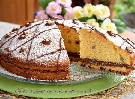 Torta 5 minuti con crema alle nocciole, ricetta veloce e golosa