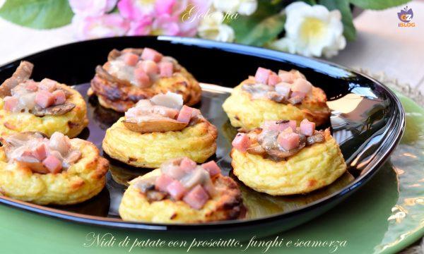 Nidi di patate con prosciutto, funghi e scamorza, ricetta golosissima