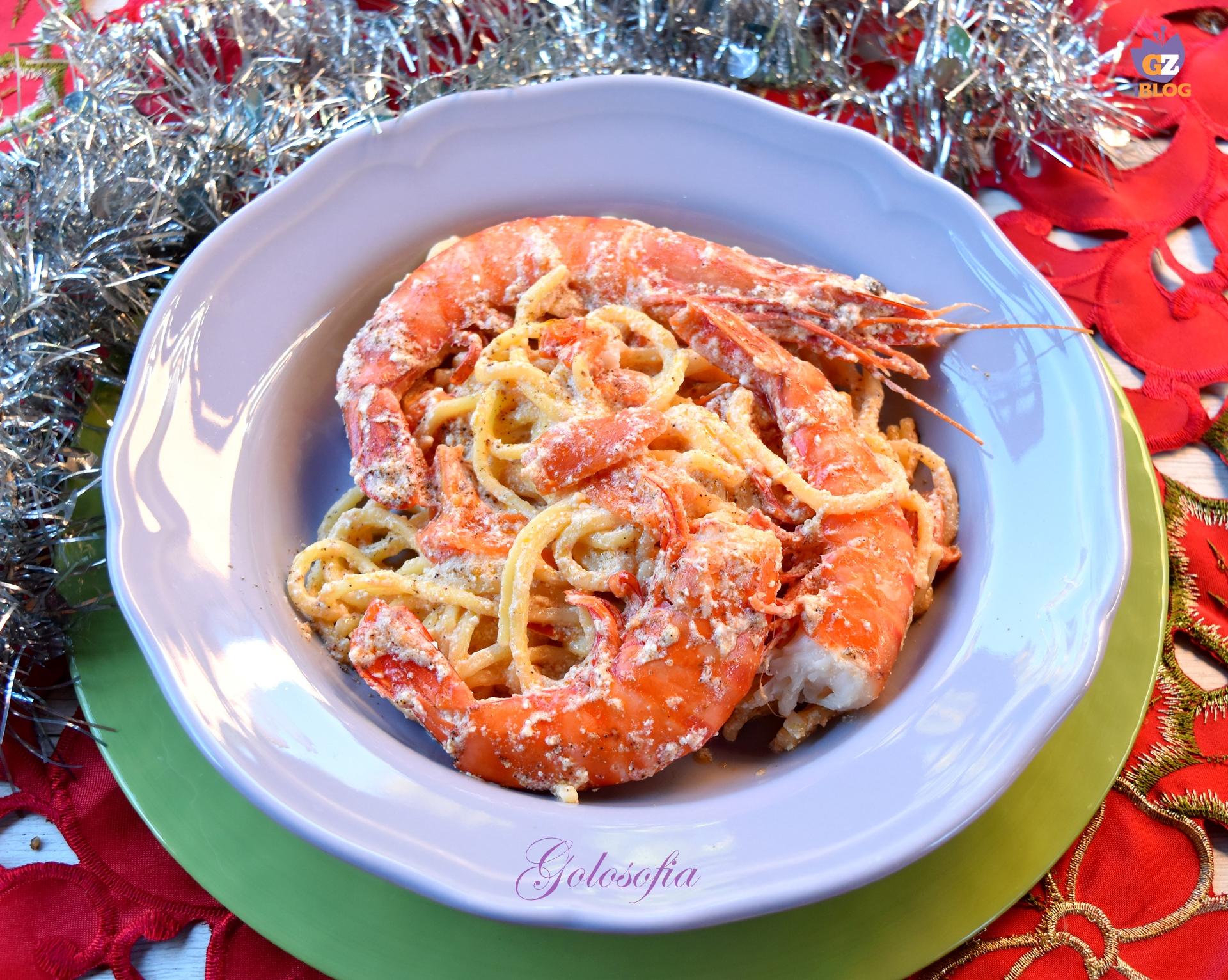 Spaghetti alla chitarra con gamberoni e ricotta- ricetta primi-golosofia