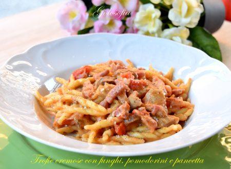 Trofie cremose con funghi, pomodorini e pancetta, ricetta buonissima