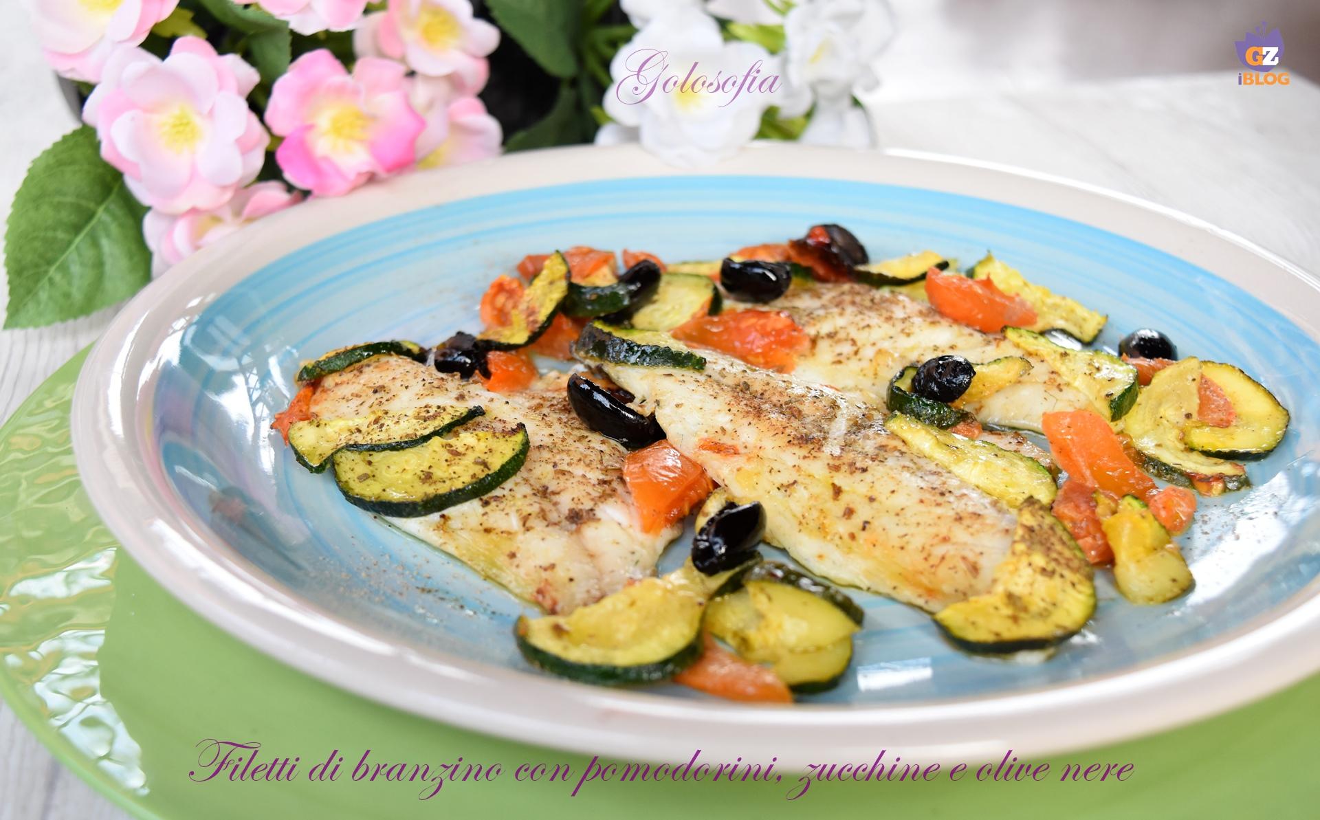 Filetti di branzino con pomodorini, zucchine e olive nere-ricetta secondi-golosofia