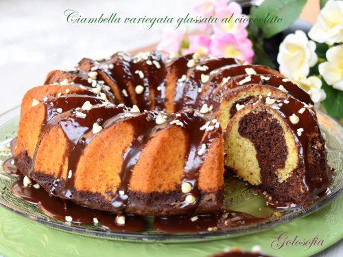 Ciambella variegata al cacao, glassata al cioccolato, ricetta soffice e golosa