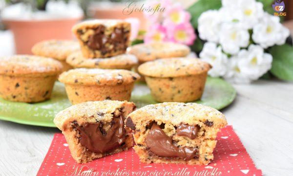 Muffin cookies con cuore alla nutella, ricetta semplice super golosa!
