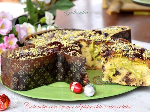 Colomba con crema al pistacchio e cioccolato, favolosa senza lievitazione!