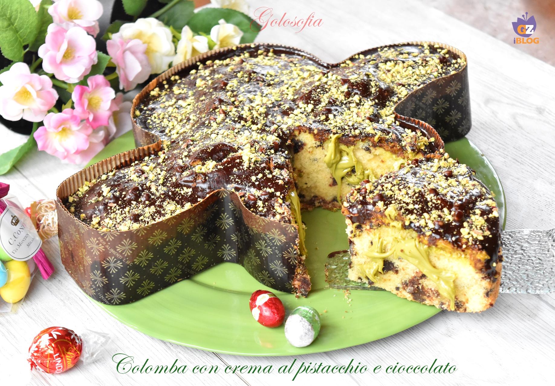 Colomba con crema al pistacchio e cioccolato-ricetta dolci-golosofia