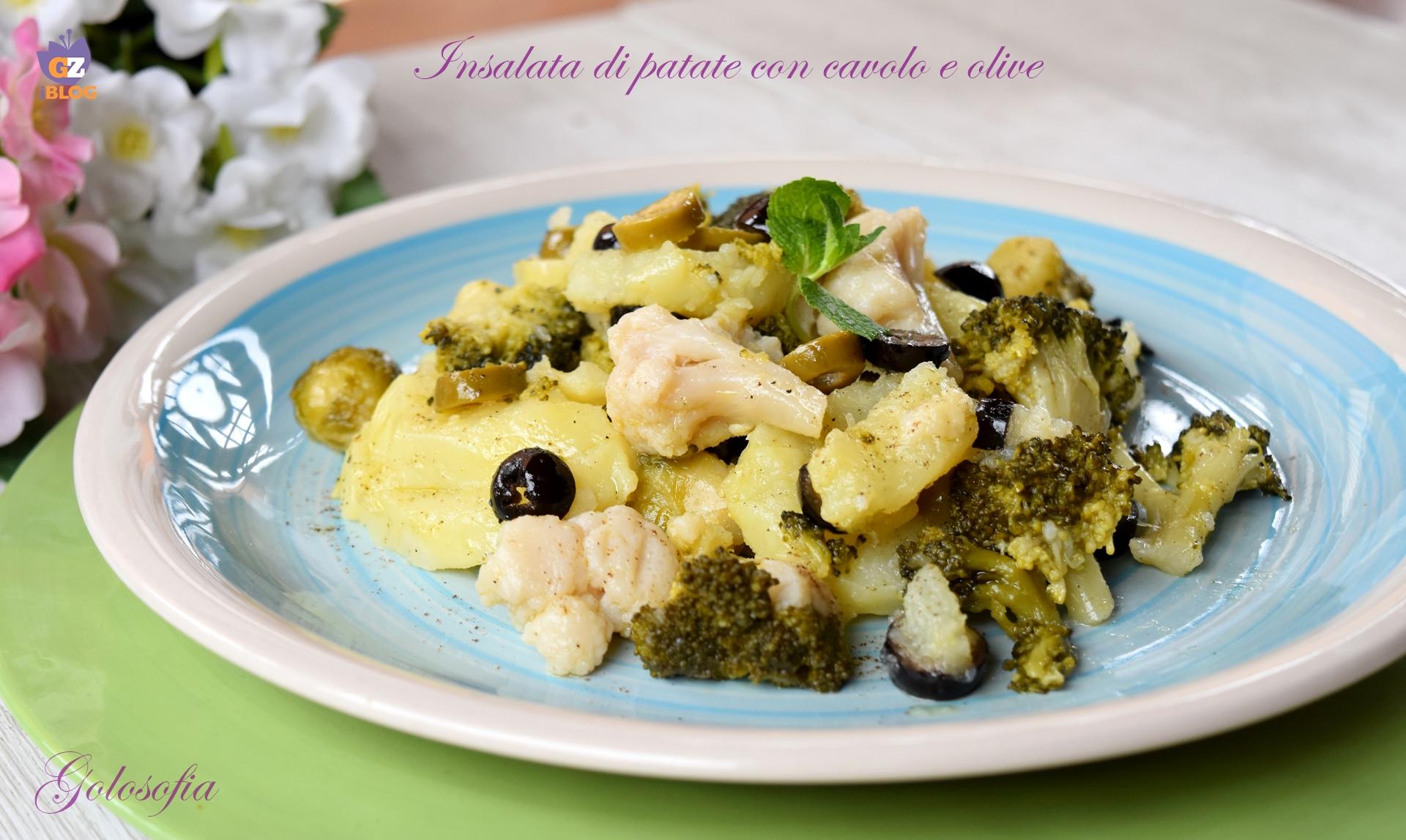 Insalata di patate con cavolo e olive-ricetta contorni-golosofia