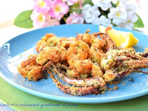 Gamberi e calamari gratinati al forno, ricetta buonissima e leggera