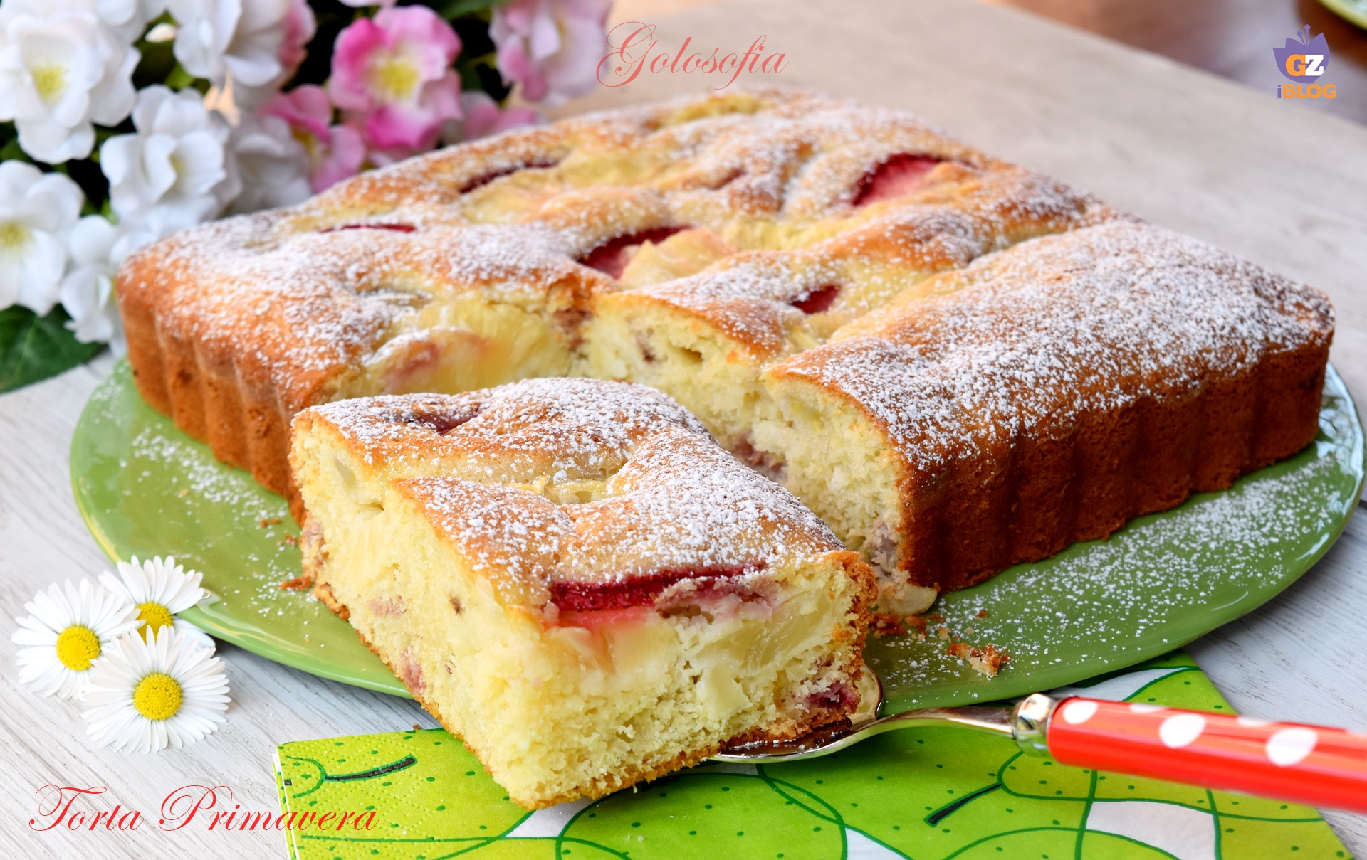 Torta Primavera con ananas, banana e fragole-ricetta torte-golosofia