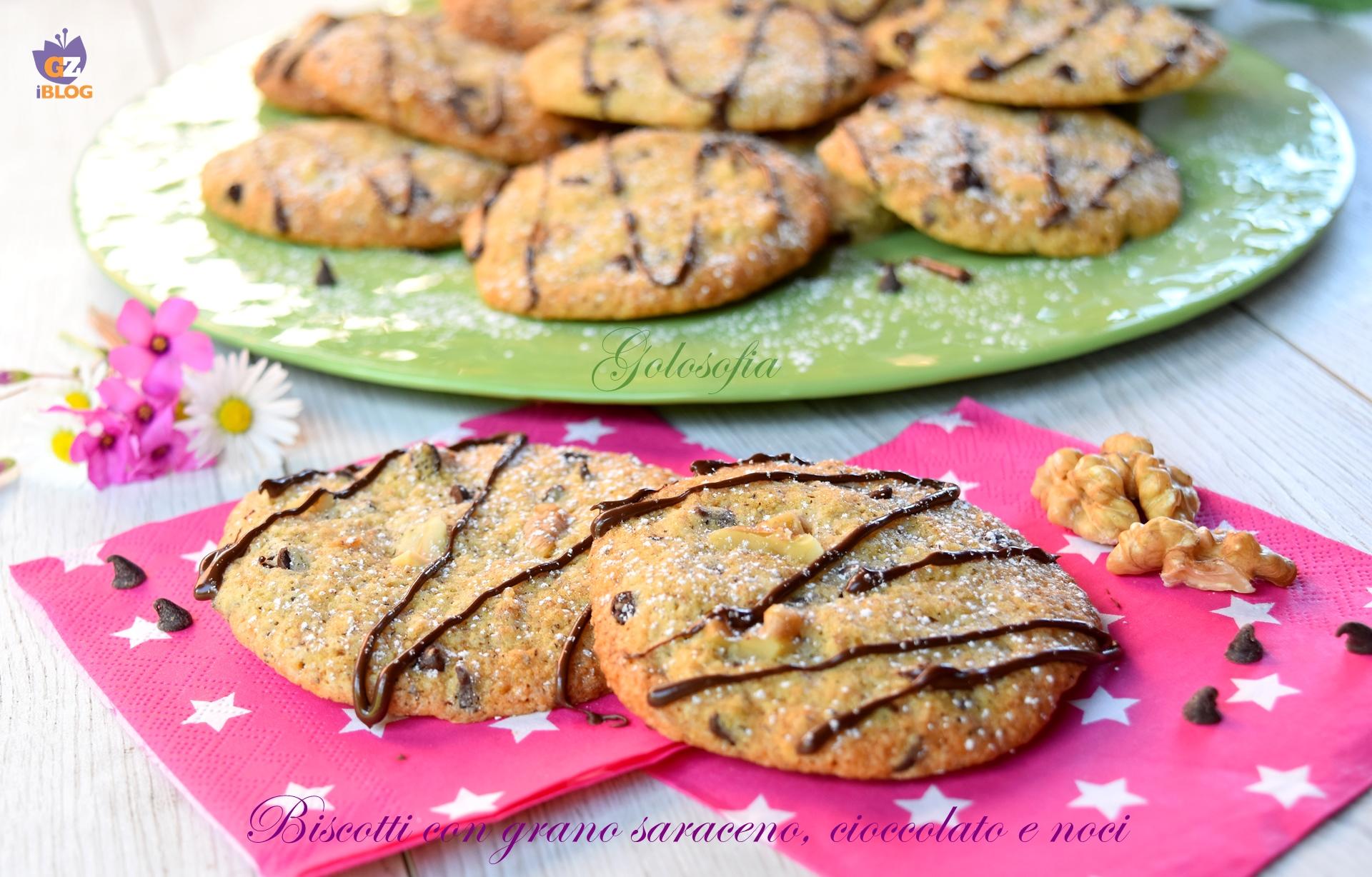 Biscotti con grano saraceno, cioccolato e noci-ricetta dolci-golosofia