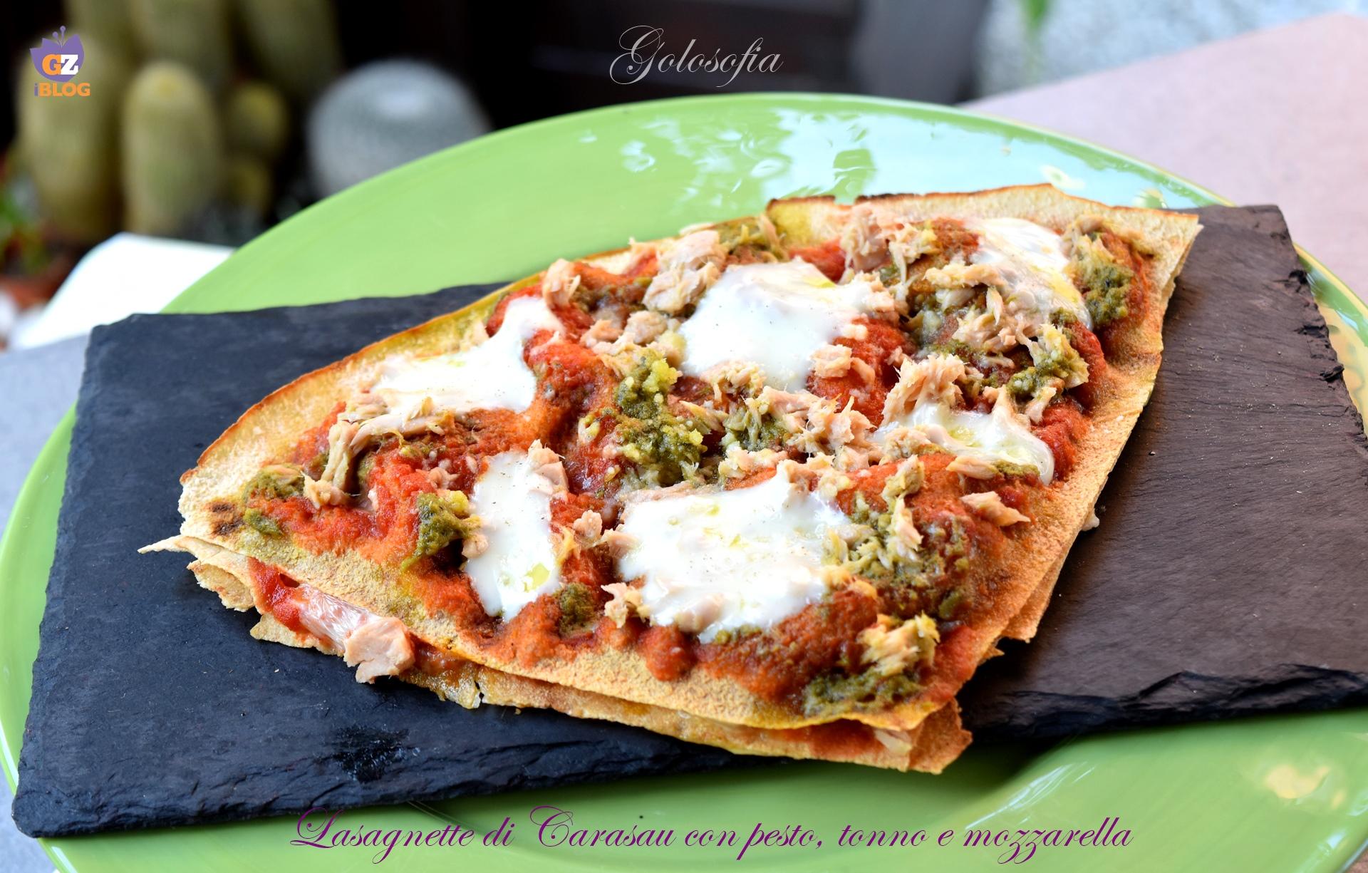 Lasagnette con pesto, tonno e mozzarella-ricetta antipasto-golosofia