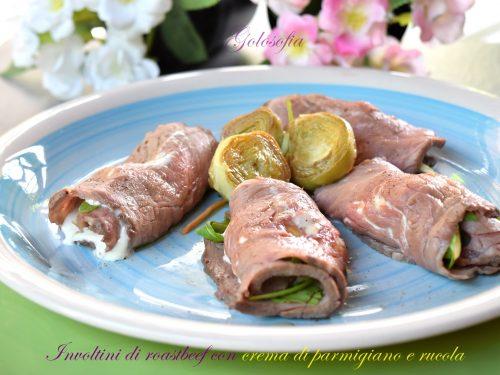 Involtini di roastbeef con crema di parmigiano e rucola, buonissimi e veloci