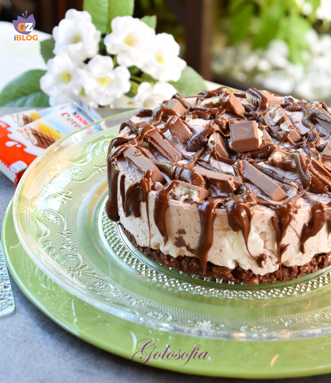 Torta fredda allo yogurt con kinder cereali e nutella-ricetta dolci-golosofia