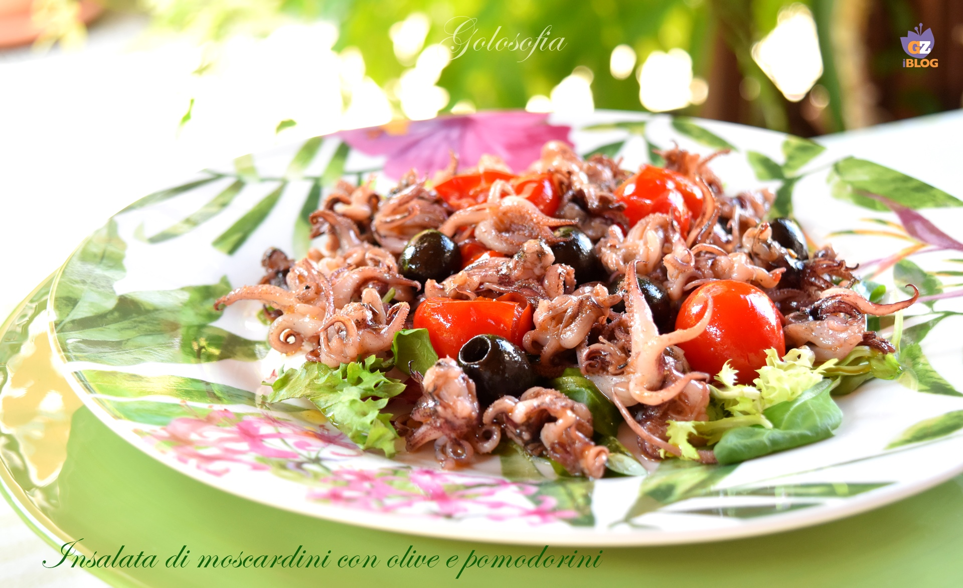 Insalata di moscardini con olive e pomodorini-ricetta secondi-golosofia