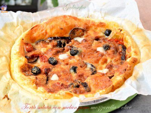 Torta salata con melanzane, mozzarella e olive, ricetta buonissima
