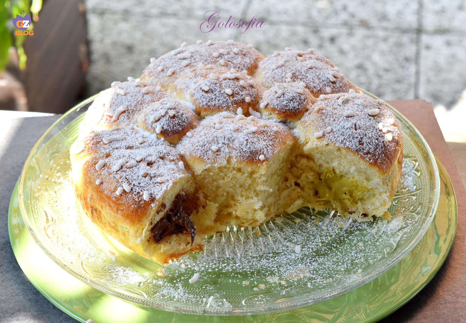 Danubio alla nutella e crema di pistacchio-ricetta dolci-golosofia