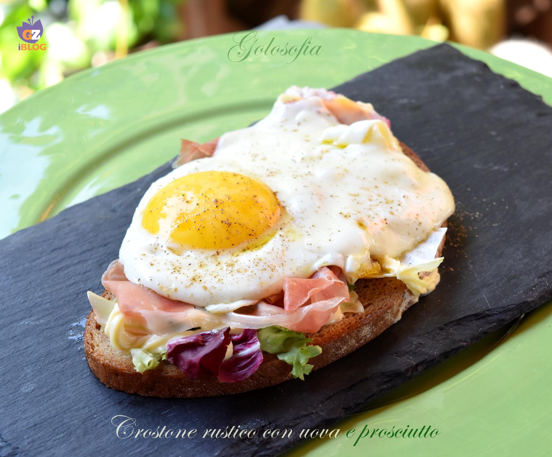 Crostone rustico con uova e prosciutto-ricetta secondi-golosofia