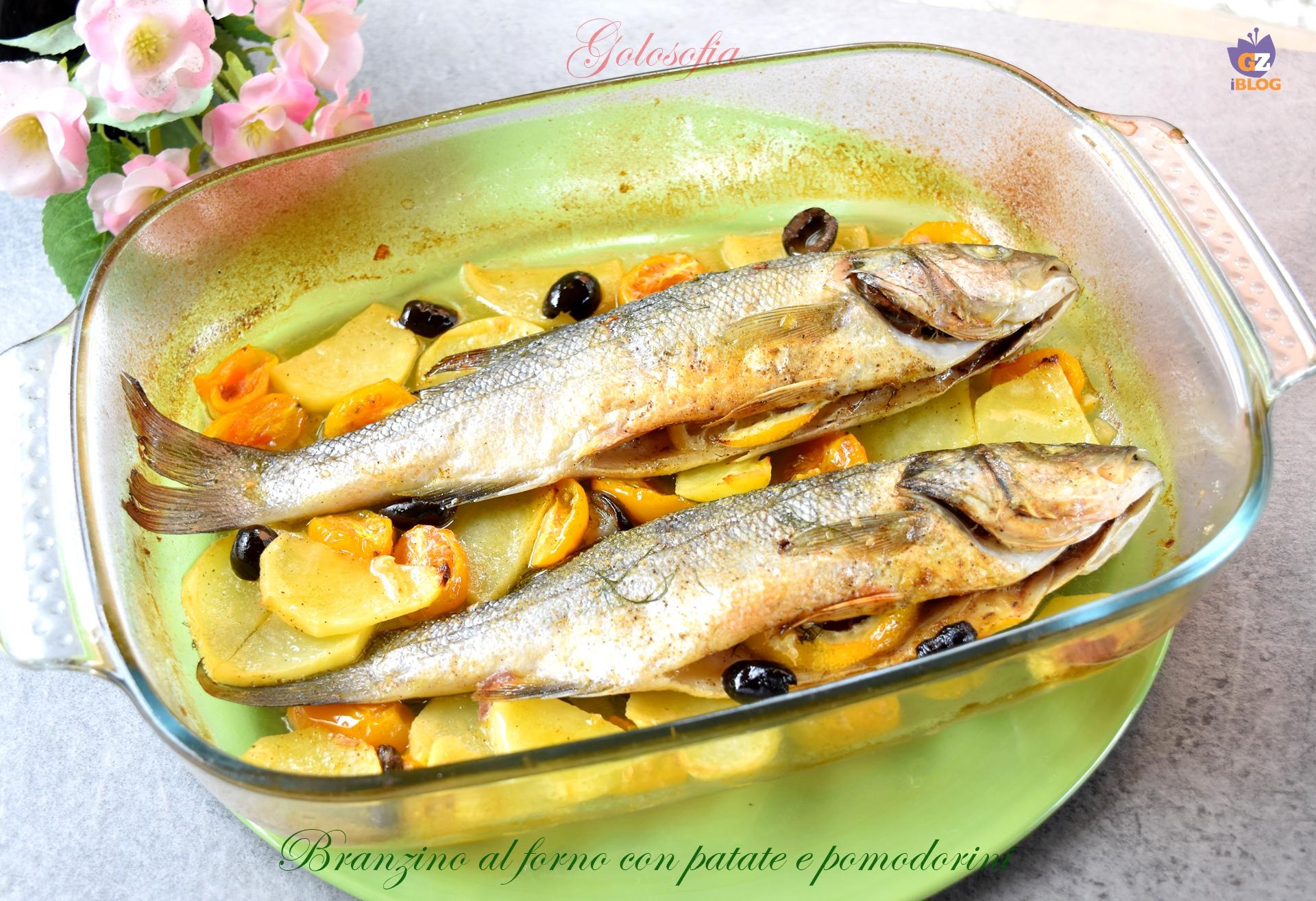 Branzino al forno con patate e pomodorini-ricetta secondi-golosofia