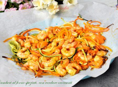 Gamberi al forno speziati, con verdure croccanti, gustosissimi e leggeri