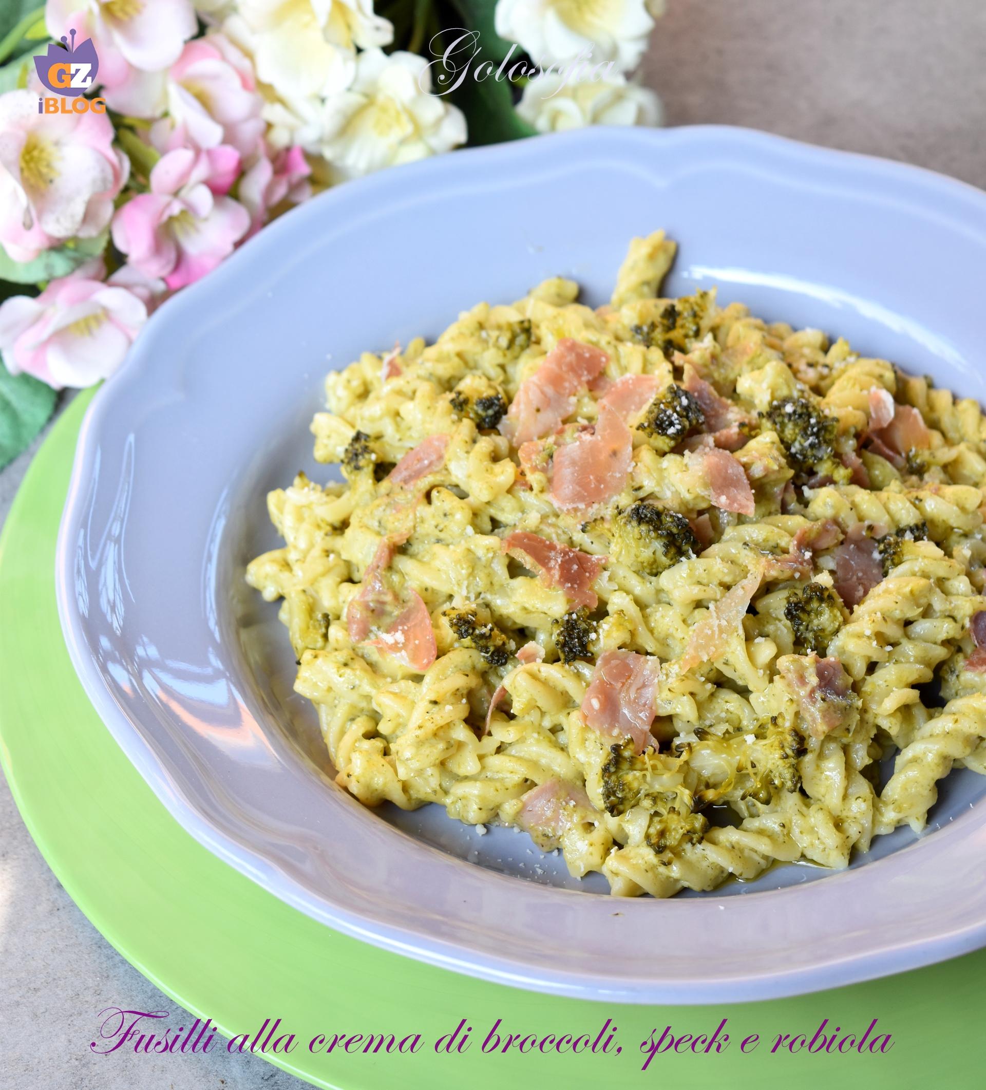 Fusilli alla crema di broccoli, speck e robiola-ricetta primi-golosofia