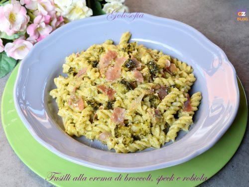 Fusilli alla crema di broccoli, speck e robiola, buonissimi