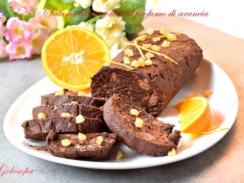 Salame al cioccolato al profumo di arancia, semplice e squisito