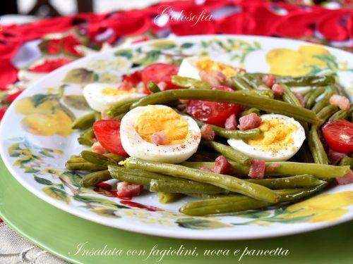 Insalata con fagiolini, uova e pancetta, ricetta veloce e appetitosa