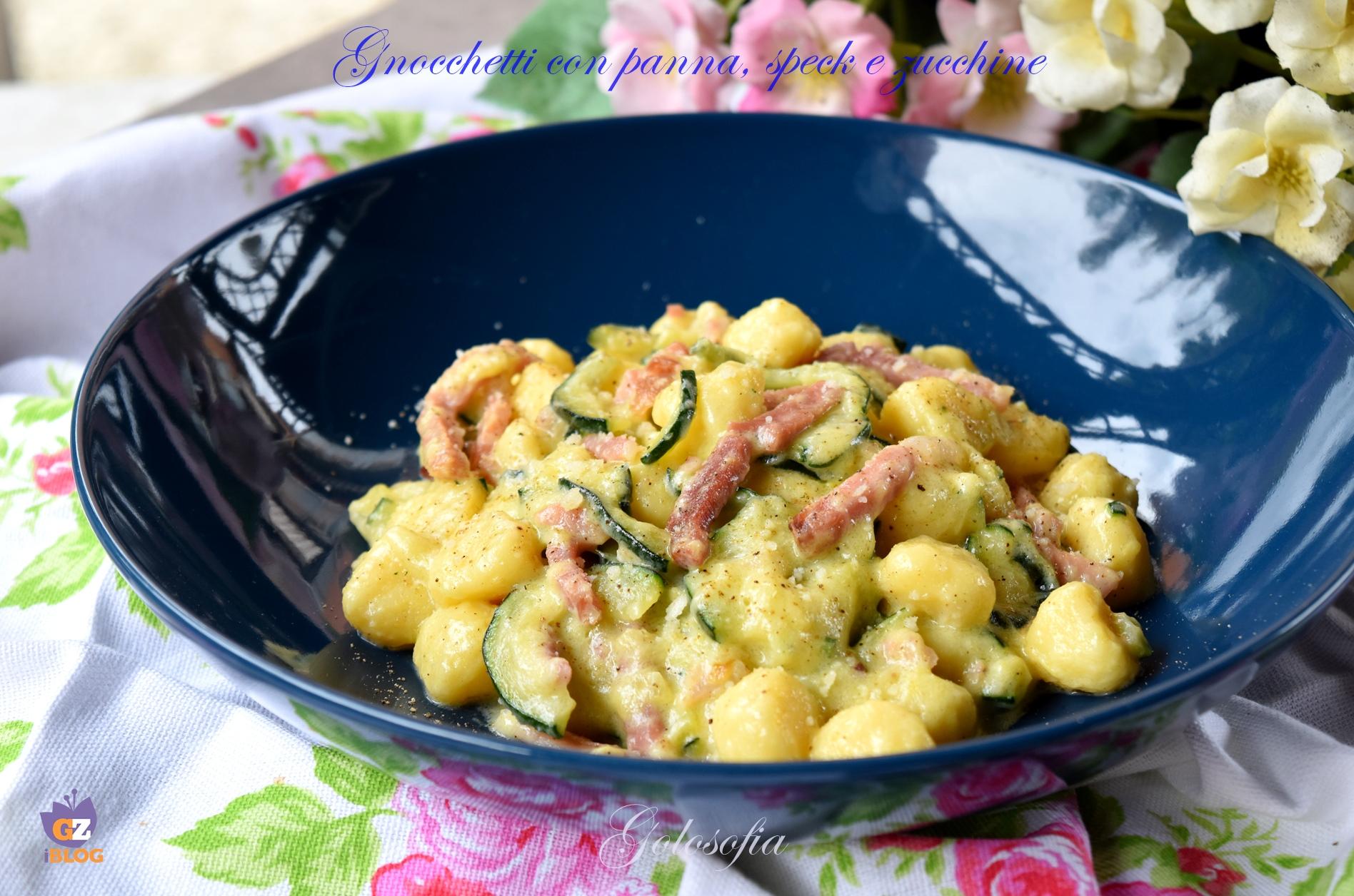 Gnocchetti con panna, speck e zucchine-ricetta primi-golosofia