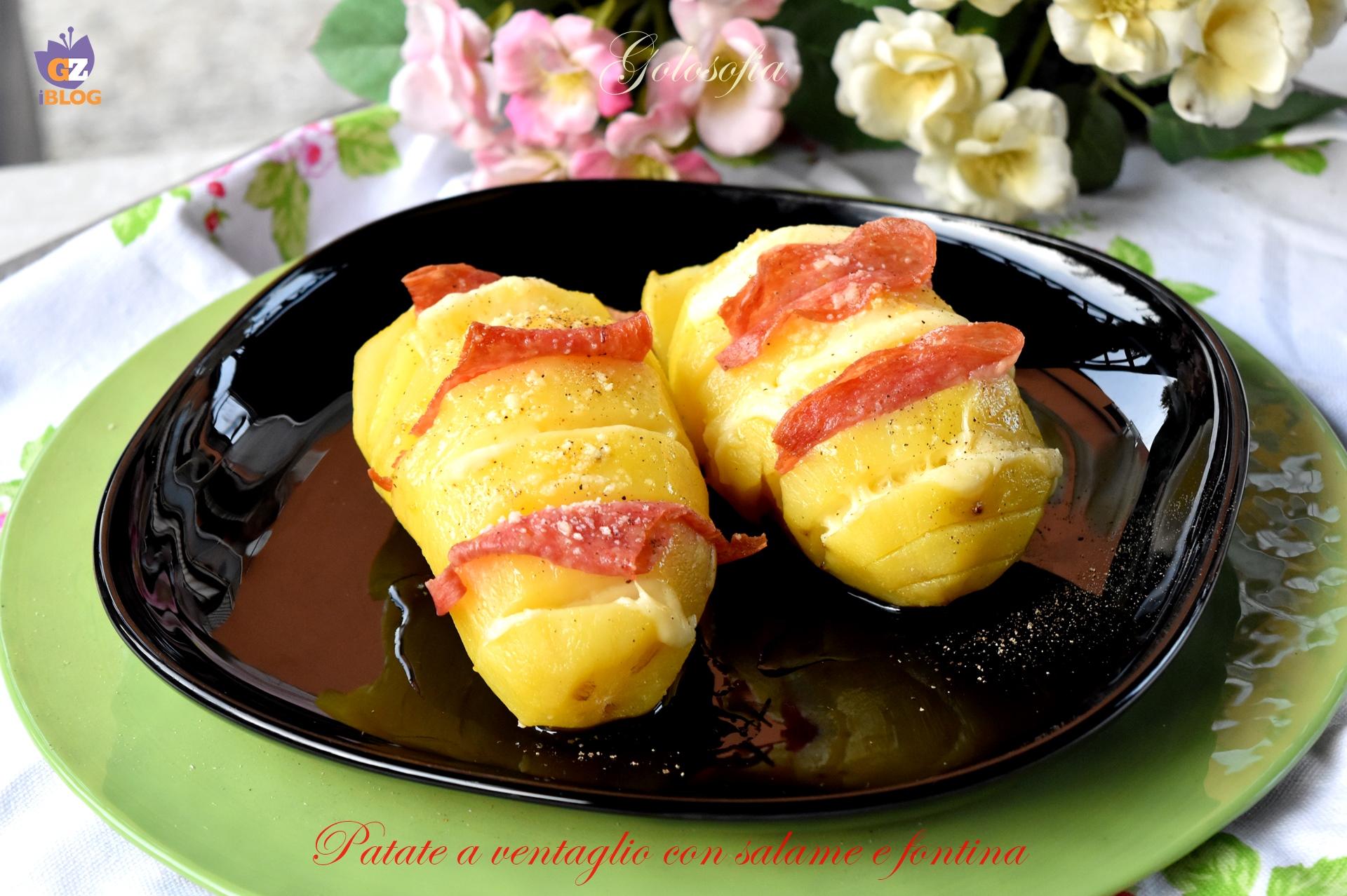 Patate a ventaglio con salame e fontina-ricetta secondi-golosofia