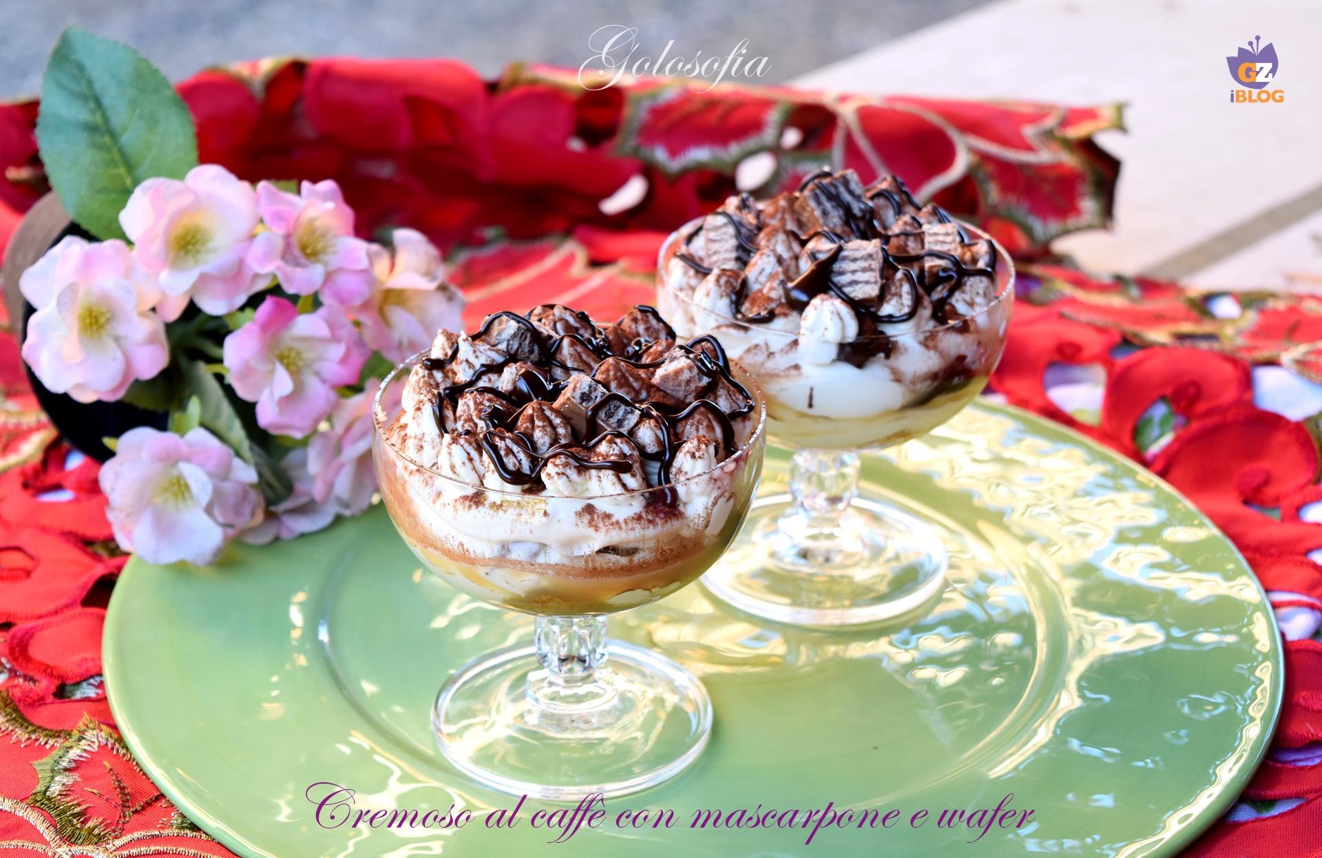 Cremoso al caffe' con mascarpone e wafer-ricetta dolci-golosofia
