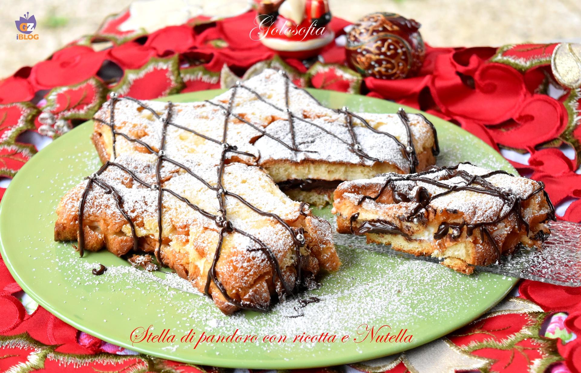 Stella di pandoro con ricotta e Nutella-ricetta torte-golosofia
