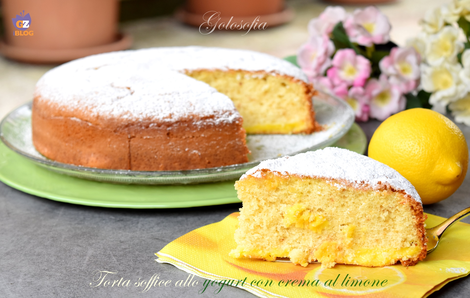 Torta soffice allo yogurt con crema al limone-ricetta torte-golosofia