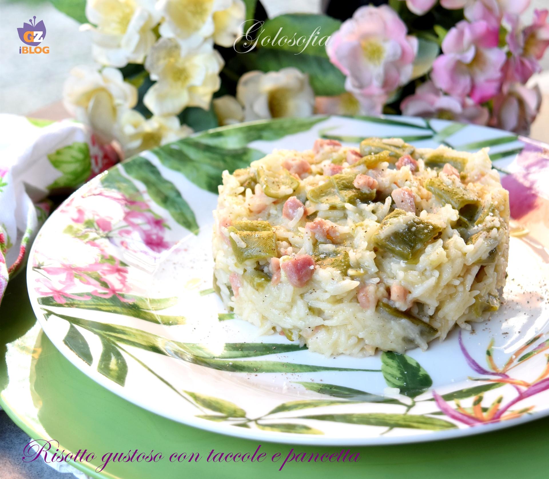 Risotto gustoso con taccole e pancetta-ricetta primi-golosofia
