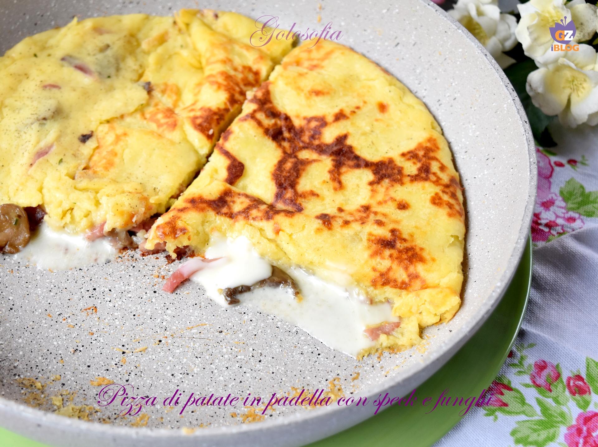 Pizza di patate in padella con speck e funghi-ricetta secondi-golosofia