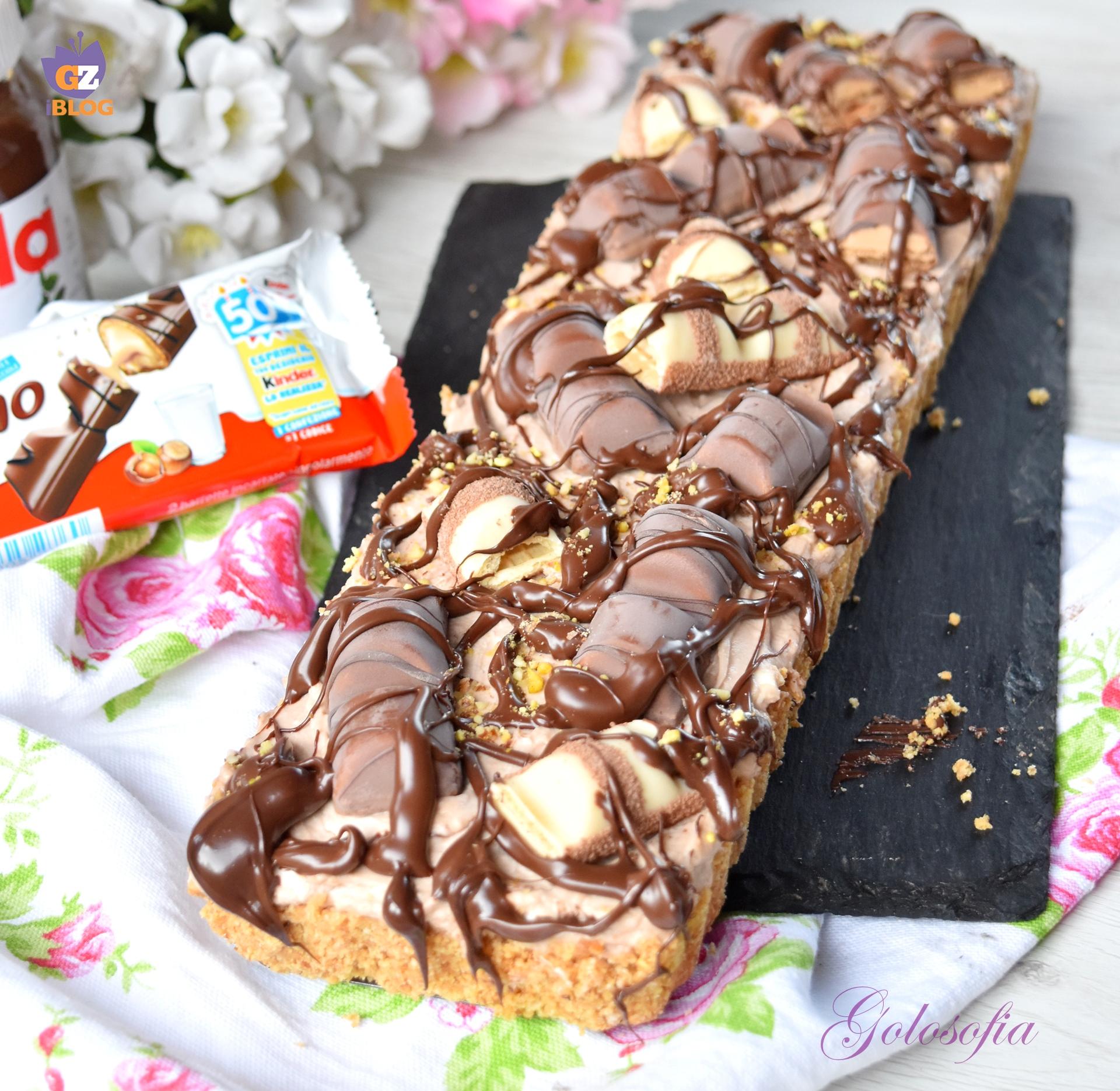 Crostata fredda con kinder bueno e nutella-ricetta dolci-golosofia
