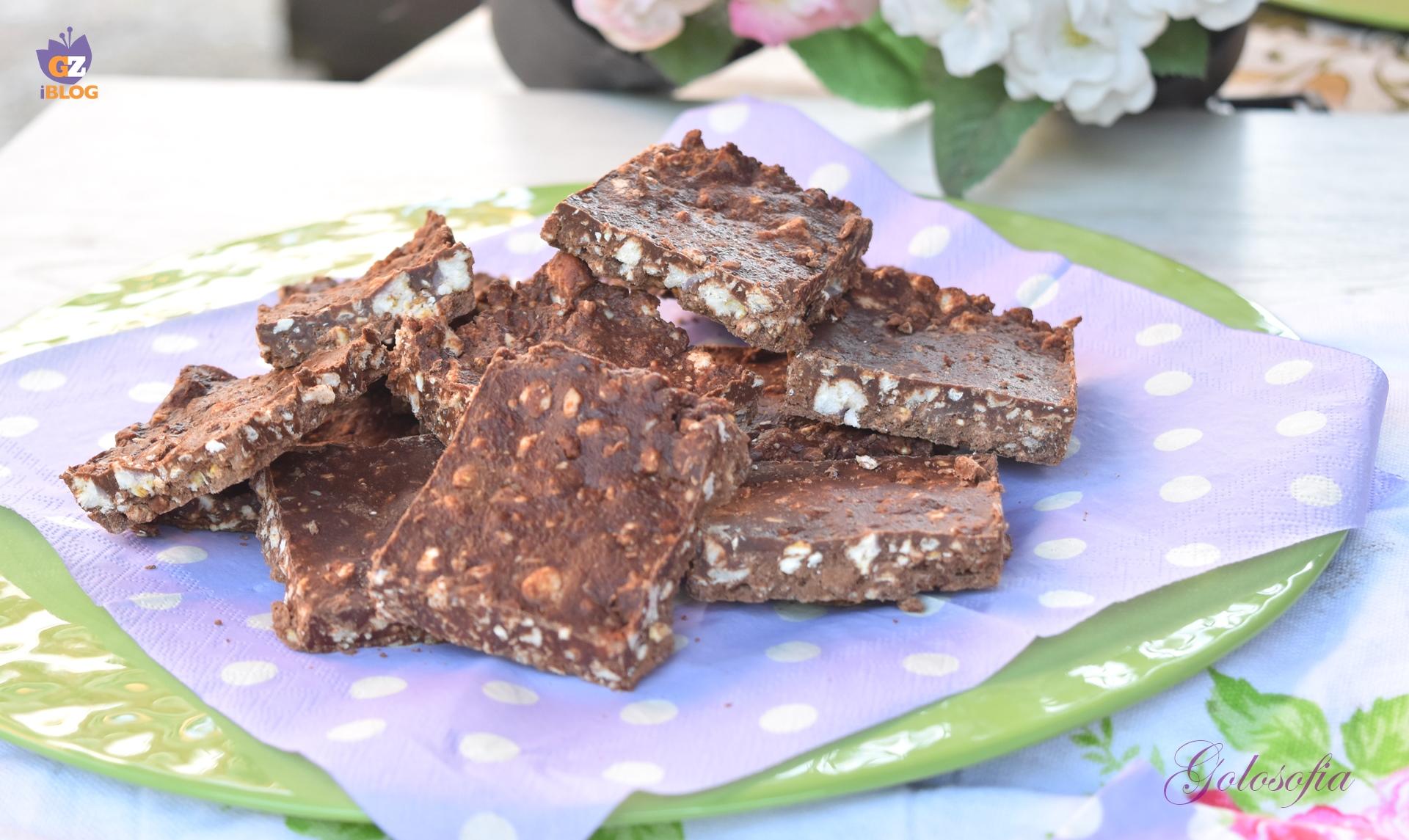 Barrette di riso soffiato e cioccolato-ricetta dolci-golosofia