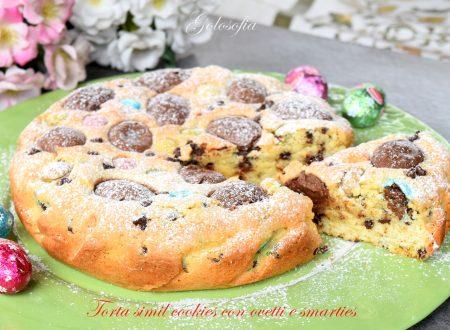 Torta simil cookies con ovetti e smarties, semplice e golosa